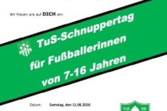 Einladung: Schnuppertag der TuS-Fußballmädchenabteilung für Mädchen zwischen 6-16 Jahren