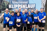 Laufabteilung mit großer Gruppe beim Klippenlauf – 1. AK-Platz für Beate Herrmann