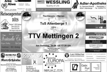 TT: Spielankündigung TuS Altenberge 1 – TTV Mettingen II