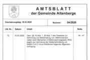 Amtsblatt Gemeinde Altenberge zum Corona-Virus