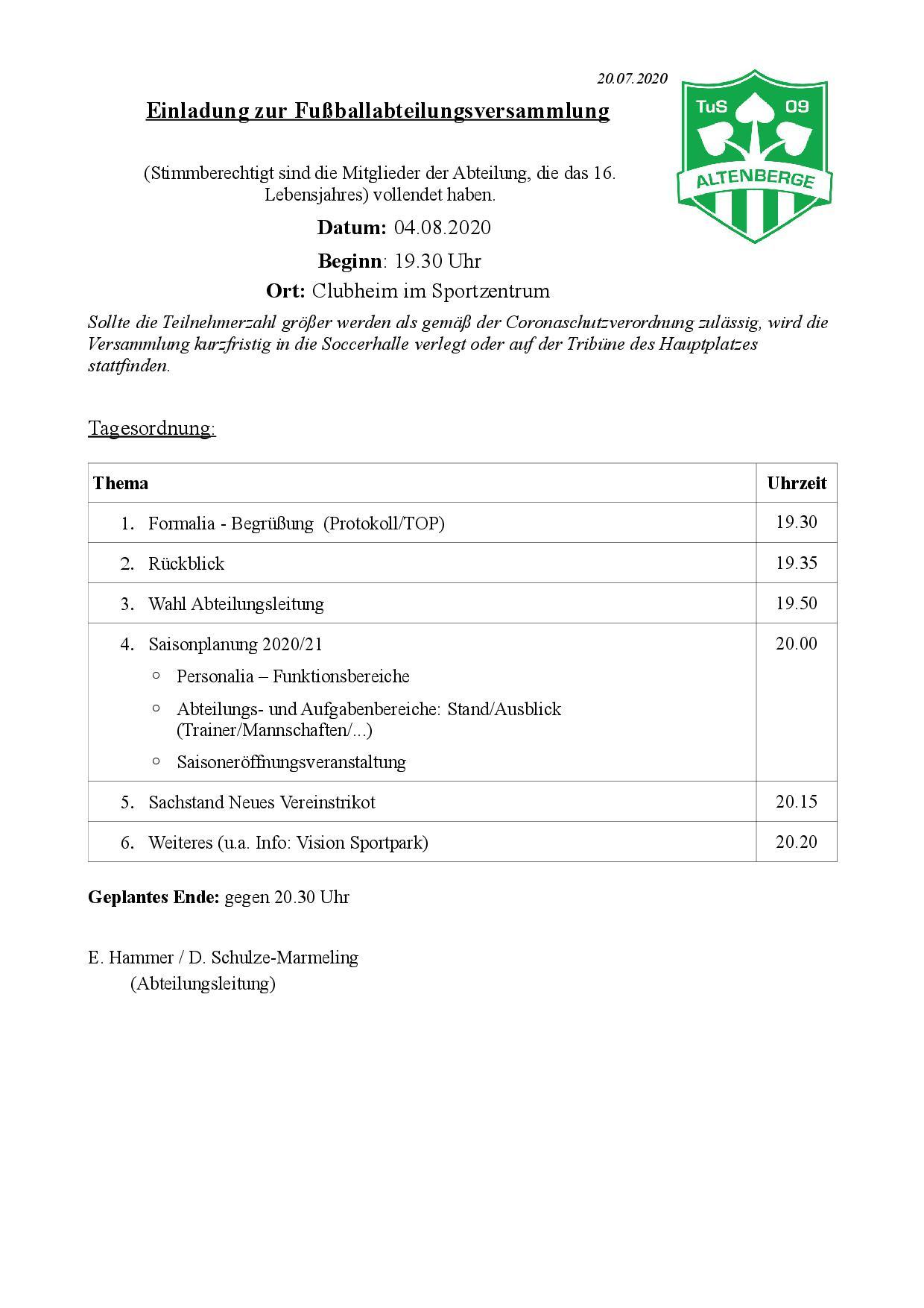 Fußballabteilungsversammlung am 04.08.2020