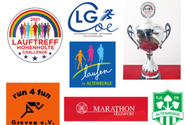 Marathon Steinfurt gewinnt die 1. Hohenholter Lauftreff-Challenge, Altenberge mit der höchsten Teilnehmerzahl auf dem zweiten Platz