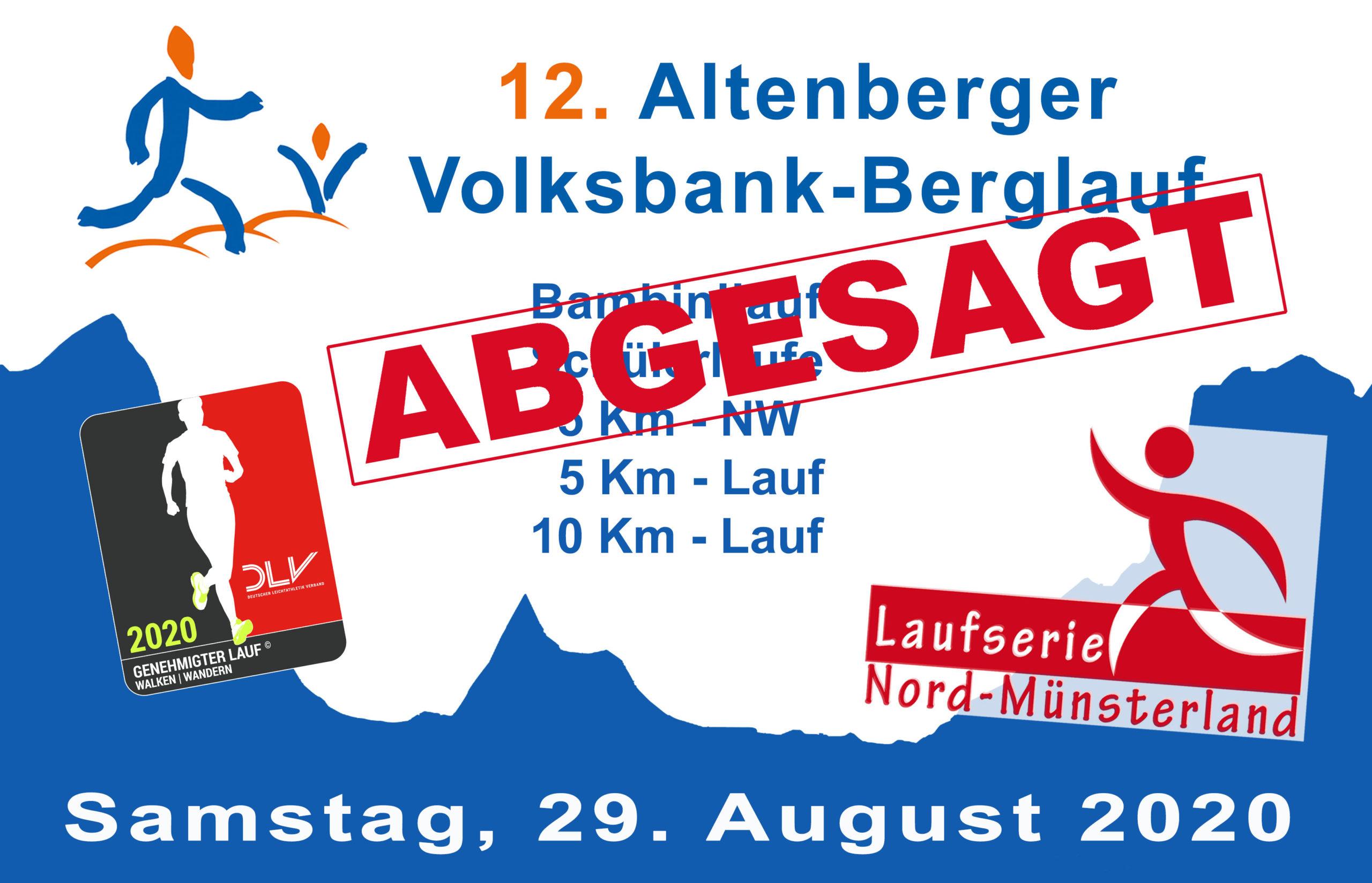 Eine weitere Veranstaltung wird abgesagt - Der 12. Altenberger Volksbank-Berglauf am 29. August 2020 findet nicht statt